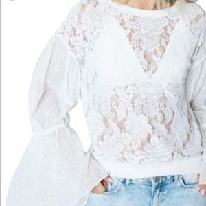 Free People Ivory Poetry in Lace Bell Sleeve Top